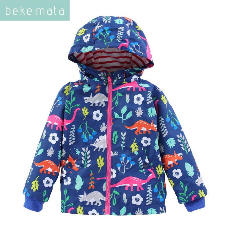 BEKE MATA Waterproof Windbreaker For Girls Spring 2018 Cartoon Dinosaur Toddler Boy Jacket Zipper Hooded Children's Outerwear