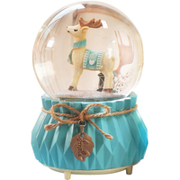 Nordic Style Wooden Horse Elk Snow Crystal Ball Music Box Resin Crafts Ornaments Automatic Rotating Water Polo Music Box Gifts