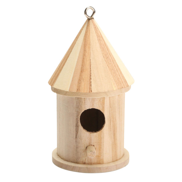 Bird House Nest Wooden DIY Birdhouse Hanging Nesting Box Craft For Home Garden Decoration Holiday Gift Ornament 16x7.8cm