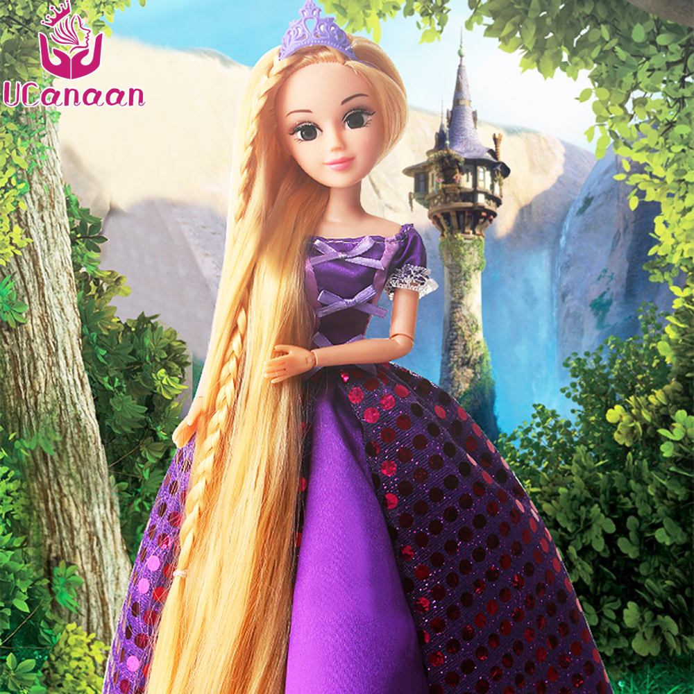 UCanaan 30CM  Princess Dolls Rapunzel Long Hair Fashion Toys Joint Moving Body Long Thick Blonde Hair Birthday Girl Gift Doll