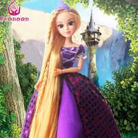 UCanaan 30CM Princess Dolls Rapunzel Long Hair Fashion Toys Joint Moving Body Long Thick Blonde hair Birthday Girl Gift doll