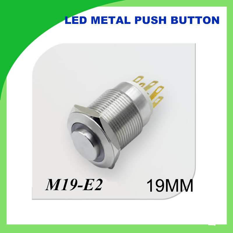 1pcs <font><b>19mm</b></font> 12V <font><b>LED</b></font> Latching Push Button Metal Switch ON/OFF Car Boat DIY with illuminated power symbol,Waterproof dot illuminated