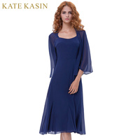 Kate Kasin Cocktail Party Dress 2018 Elegant Short Cocktail Dresses With Cape Open Front Navy Blue