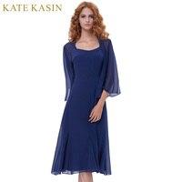 Kate kasin vestido de cóctel 2018 corto elegante Vestidos de cóctel con Cabo frente abierto azul marino prom vestido coctel