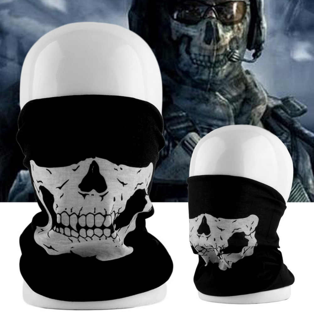 Whosale Cool Tubular Black Skull Ghost Face Mask Halloween Winter Warmer Motor Motorcycle Cycling Bike Sport Mask free shiping
