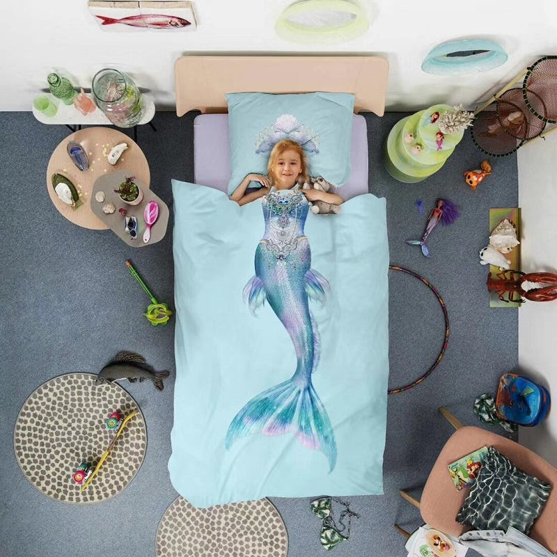Personality cartoon mermaid digital printing 100% cotton Bedding Set Duvet Cover Bed Linen Bed sheet Pillowcases Gift For Child