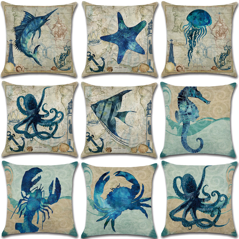 Marine Life Pillow Decorative Decor Cotton Linen 45*45 Cushion Cover Sofa Printed Pillowcase For Living Room Pillowcover 40018
