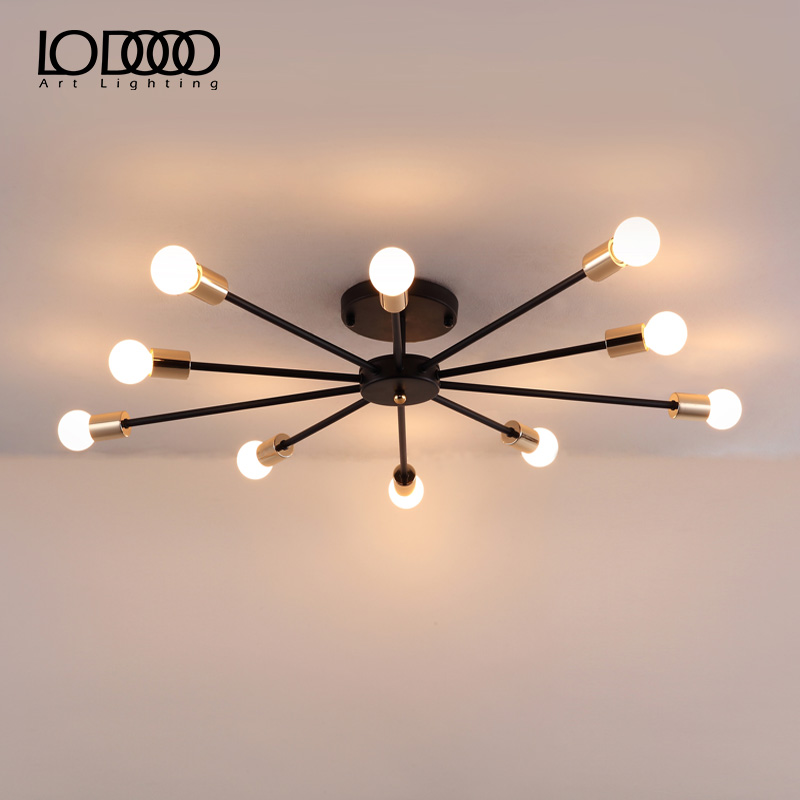Modern Vintage E27 LED Ceiling Lights Living Room Bedroom Creative Home Lighting Fixtures AC110V/220V E27