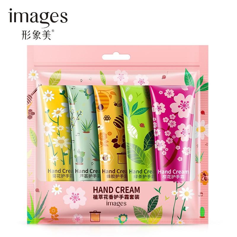 5pcs/lot Images Plant Extract Fragrance Moisturizing Nourishing Hand Cream Suit Anti Drying Anti Wrinkle Hand Care 30g