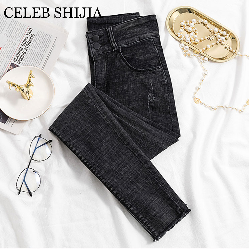 New Arrive Black Skinny Jeans Woman High Waist Elastic Denim Pencil Pants Female Ankle-length