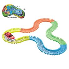 ФОТО 57/166/221 pcs/set magic track educational assembly plastic glowing in dark flexible diy toys racing track with car for boys