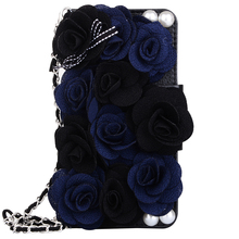 for Coque iPhone 7 Case 3D Elegant Black Roses Leather Phone Bag + Lanyard for iPhone 6 6s 7 plus Cases with Card Slot Women