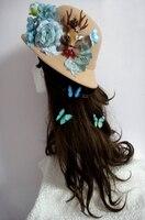 Hot Female Woolen Church Cloche Hat Retro Derby Bowler Fedora Bucket Cap Handmade Vintage Deer Head Flower Hats