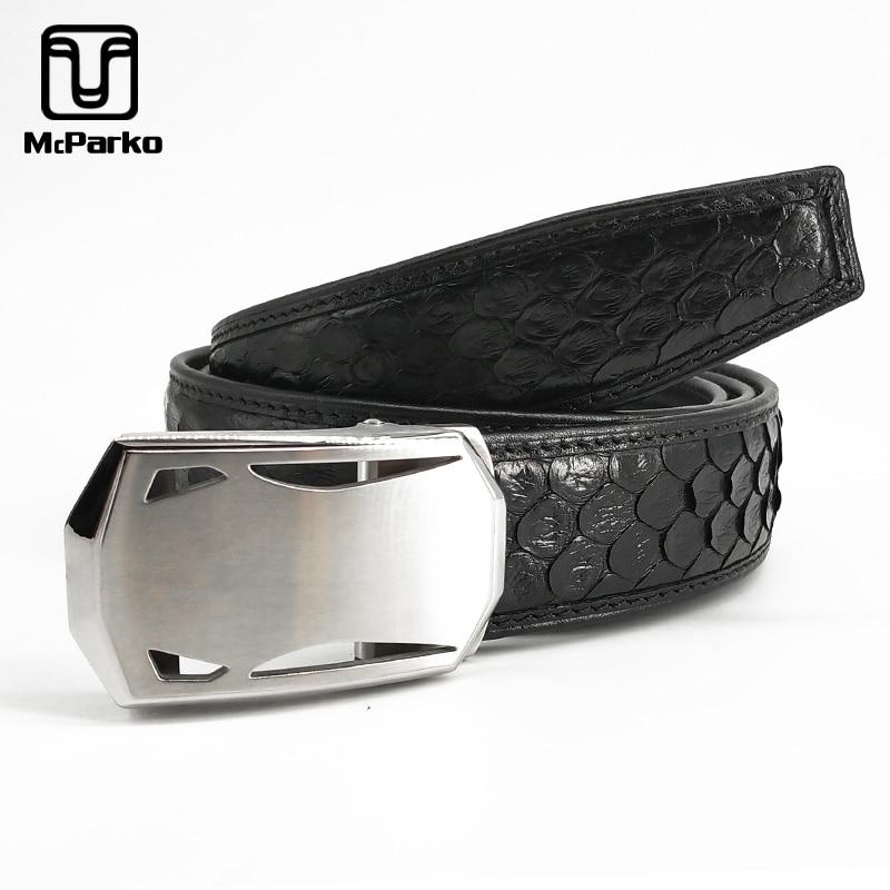 McParko Genuine Snakeskin Belt Automatic Genuine Leather Belt Men Luxury Real Snake Skin Waist Belts 35mm Stainless Steel Buckle