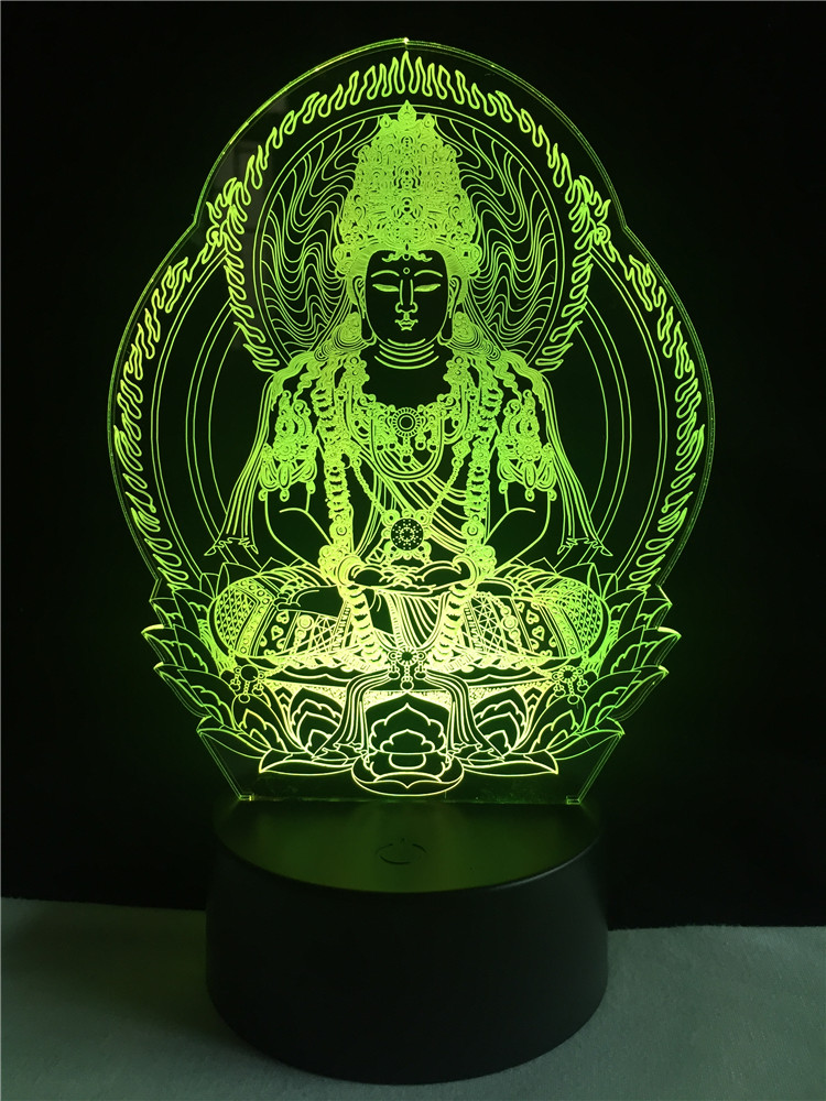 GAOPIN Creative Religion Buddha Statue 3D lighting Friends Gifts LED USB Mood Night Light Multicolor Touch Remote Table Lamp