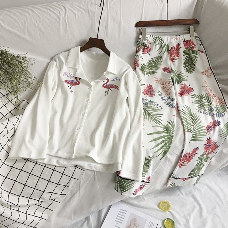 2018 New Cute Sleepwear Women Pajama Sets Women Flamingo Print long Sleeve Turn-down Collar Pants Pajama Set Two piece set