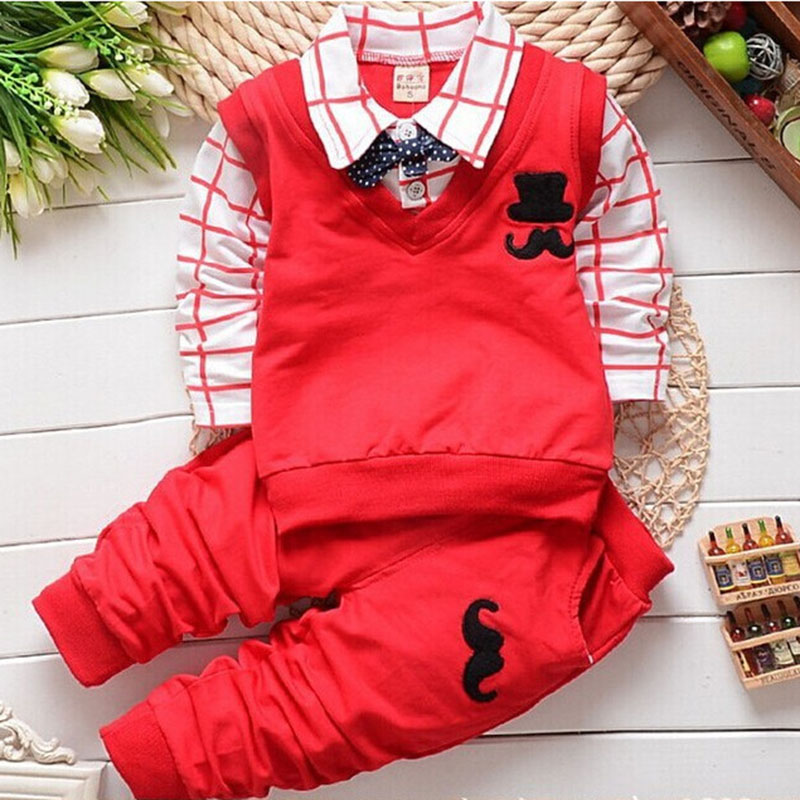 Fashion New Spring Autumn Baby Boy Clothes Set Toddler Vest Tie Plaid Blouse Shirt + Pants Suit Kids Boy Gentleman Clothing Sets 2pcs set baby clothes set boy