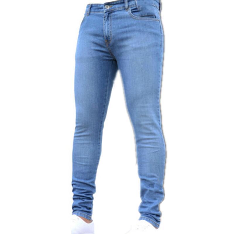 Новинка, мужские джинсы-карандаш, Модные мужские повседневные узкие прямые Стрейчевые узкие джинсы на молнии для мужчин,, брюки - Цвет: Light Blue