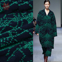 American style navy green jacquard cashmere wool fabric for winter coat thick woolen tissue telas tecidos stoffen SP4440