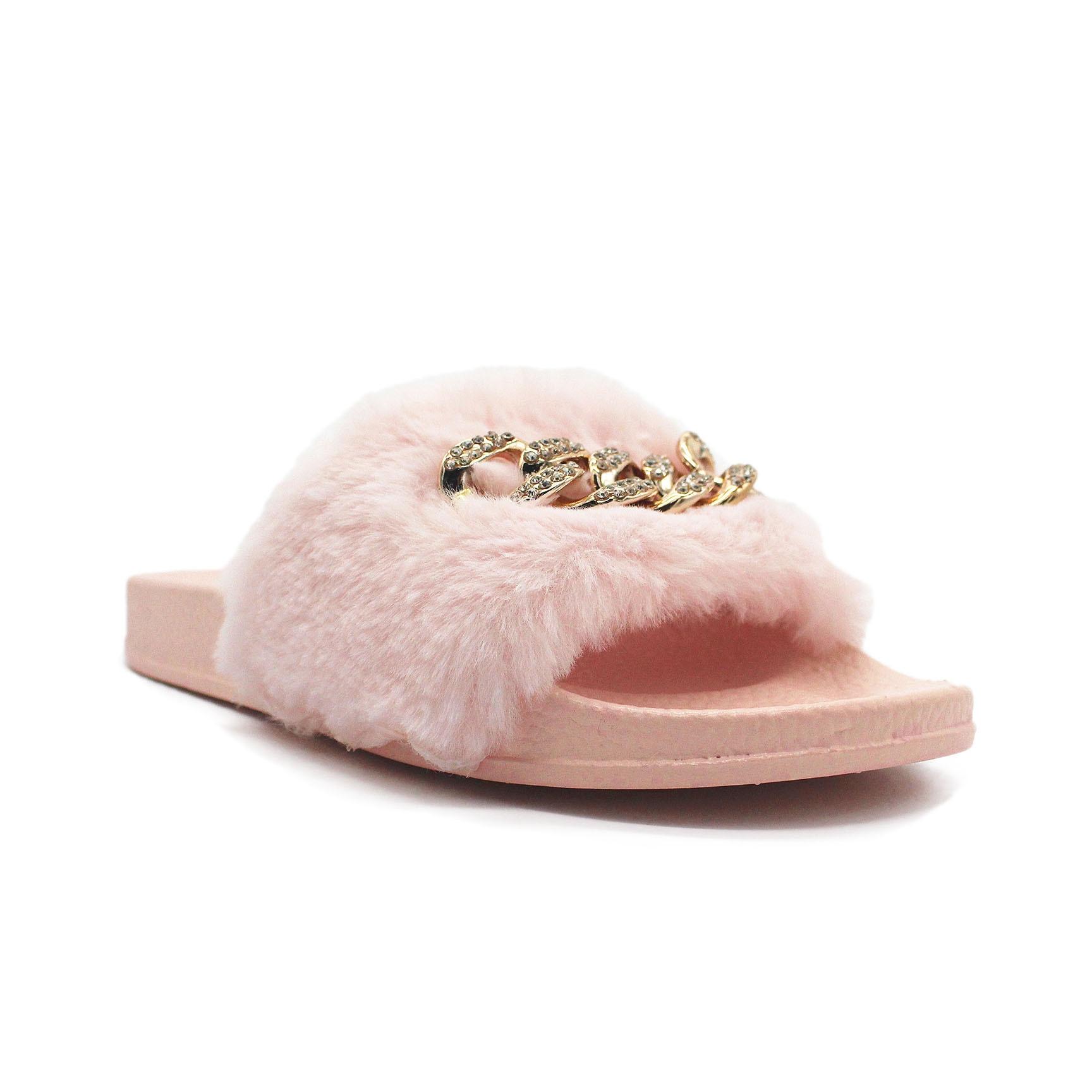 Les hommes plat doux moelleux faux de fourrure à plat pantoufles Tongs sandales Chaussures chsD3KT1