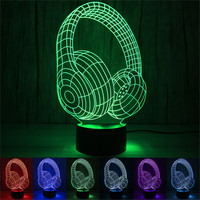 New Quality Headset 3D LED Night Light Lamps 3D Optical Illusion 7 Colors For Home Dropshipping