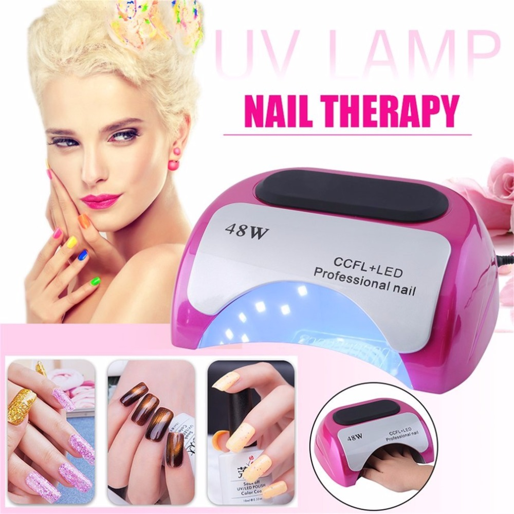 UV Nail Quick Dryer Auto-induction Sensor 48W LED Lamp Gel Curing Ultraviolet Light Timer Nail Care Phototherapy Machine portable 18w led uv light phototherapy lamp quick nail gel dryer light pink 2 round pin plug