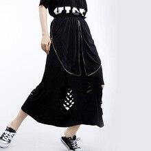 Women Summer Streetwear Punk Gothic Hip Hop Loose Casual Black Skirt Female Hole Elastic Waist Zipper Irregular Long Skirts