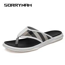 все цены на Men Flip Flops Sandals Casual Summer Men's Beach Slipper Non-slip Male Slippers Zapatos Hombre Male Flats Sandals outdoor онлайн