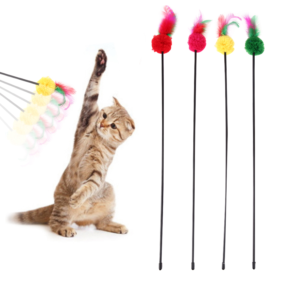 5pcs Cute Pet Cat Toy Ultra Long Rod Pets Toy Fashion Cat Play Feather Teaser Small Bell Cat Funny Toys for Dogs Cats Supplies