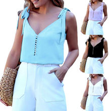 Women V Neck Sleeveless Tank Tops Vest Ladies Summer Loose Cami Blouse