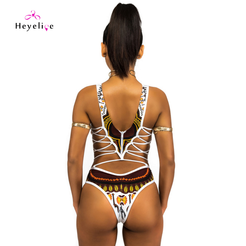 High Neck Print Swimsuits Women Sexy One Piece Swimwear High Cut Thong Swimsuits Bandage Hollow Bathing Suits New Swimming Wear