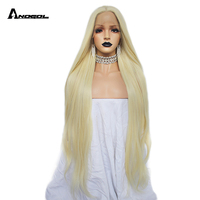 Anogol High Temperature Fiber Long Natural Wave Middle Part 360 frontal Glueless 613 Blonde Synthetic Lace Front hair Wigs Women