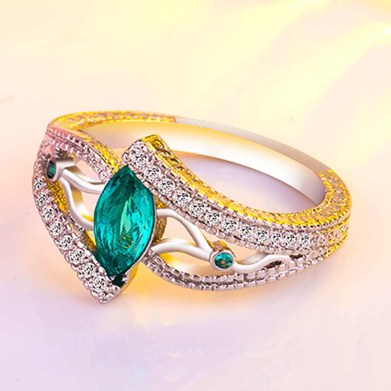 3 สีสุภาพสตรี 925 anillos แหวนเงิน Aquamarine stone หมั้นแหวนหินสีฟ้า/สีแดง/สีเขียว zircon เครื่องประดับ