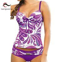 Tengweng 2017 Purple Floral Women Tankini Set Padded Two Piece Swimwear Female Swimsuit Bathing Suit Large