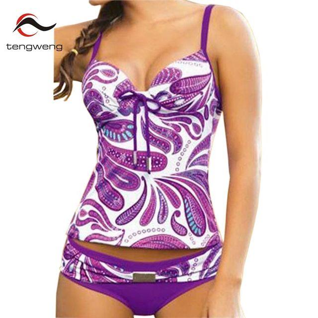 2fa545d18c Tengweng 2019 Women Push up Two piece Swimsuit Purple Floral Print Plus  size Swimwear Bathing suit Bikinis Sport Tankini 5XL
