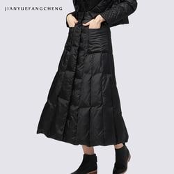 Faldas largas Mujer invierno cálido blanco pato abajo señoras faldas 2018 una línea negro alta cintura falda Maxi de talla grande hasta el tobillo Jupe