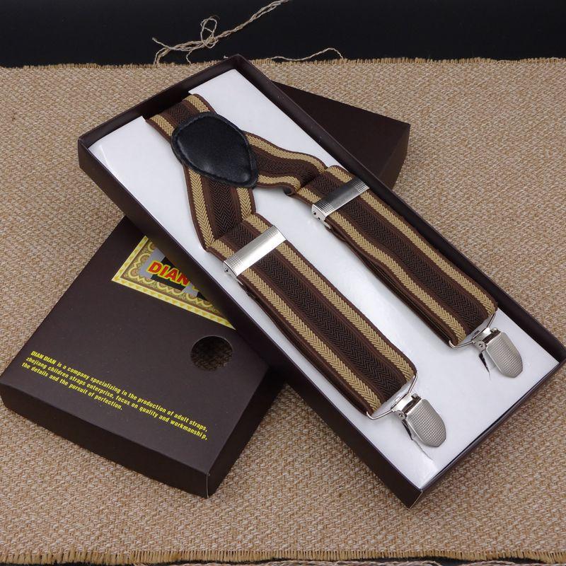 3.5cm Width Men Suspenders 3 Clip-On Belt Business Men Pants Jacquard Braces X-Shape Supports Suspenders