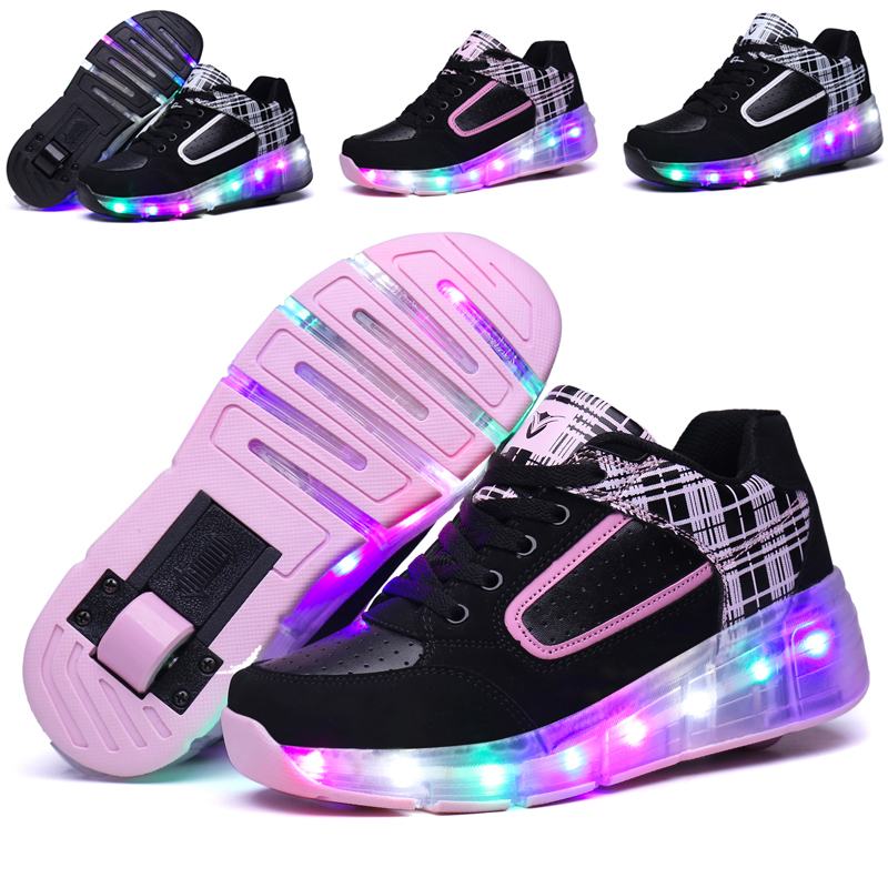 Fashion Children Glowing Sneakers Kids Roller Skate Shoes with Wheels Led Light up Glowing Shoes for Boy Girls zapatillas hombre children roller sneaker with one wheel led lighted flashing roller skates kids boy girl shoes zapatillas con ruedas