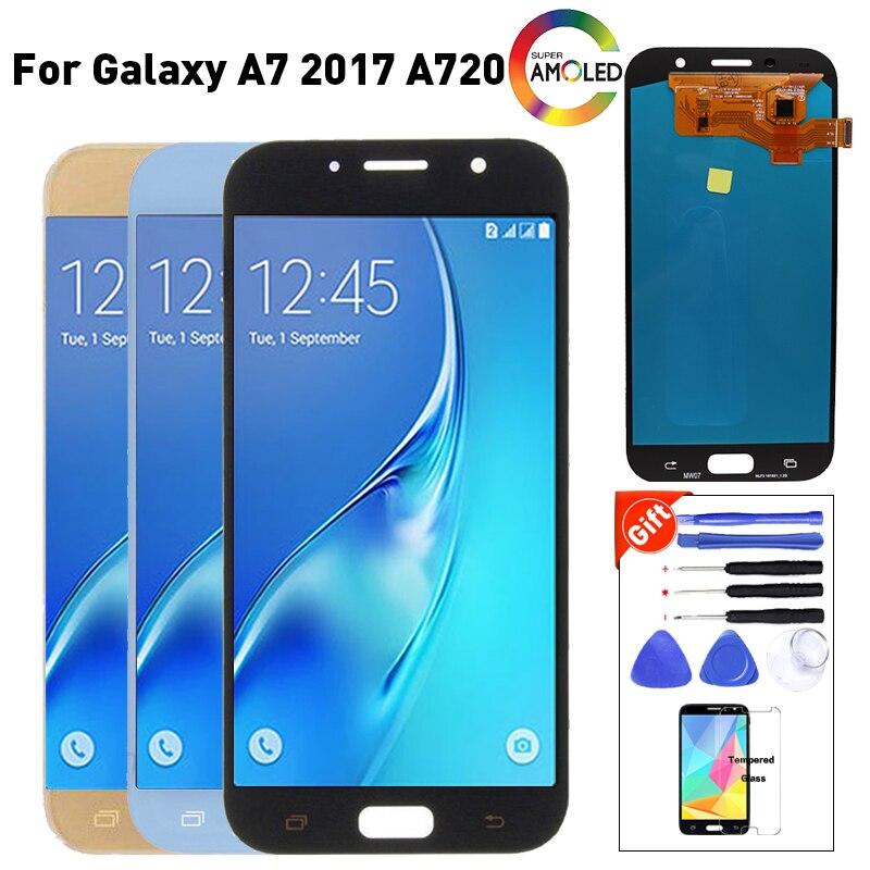 Pour SAMSUNG GALAXY A7 2017 A720 A720F SM-A720F écran LCD ensemble numériseur à écran tactile remplacement pour SAMSUNG A720 LCD
