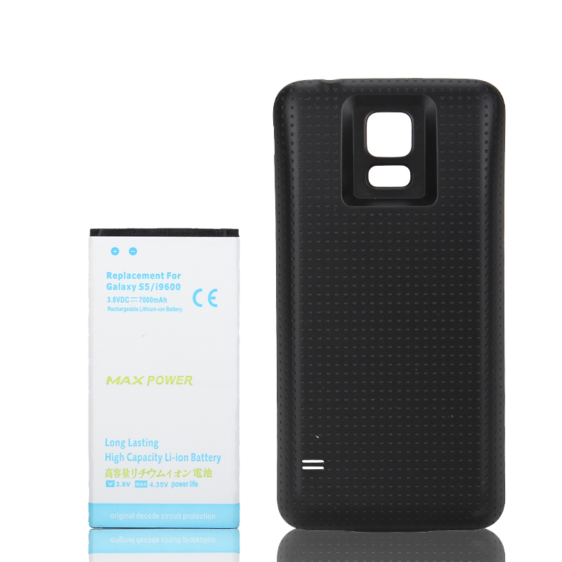 High Capacity 7000mAh Extended Replacement Battery + Back Case Cover For Samsung Galaxy S5 i9600