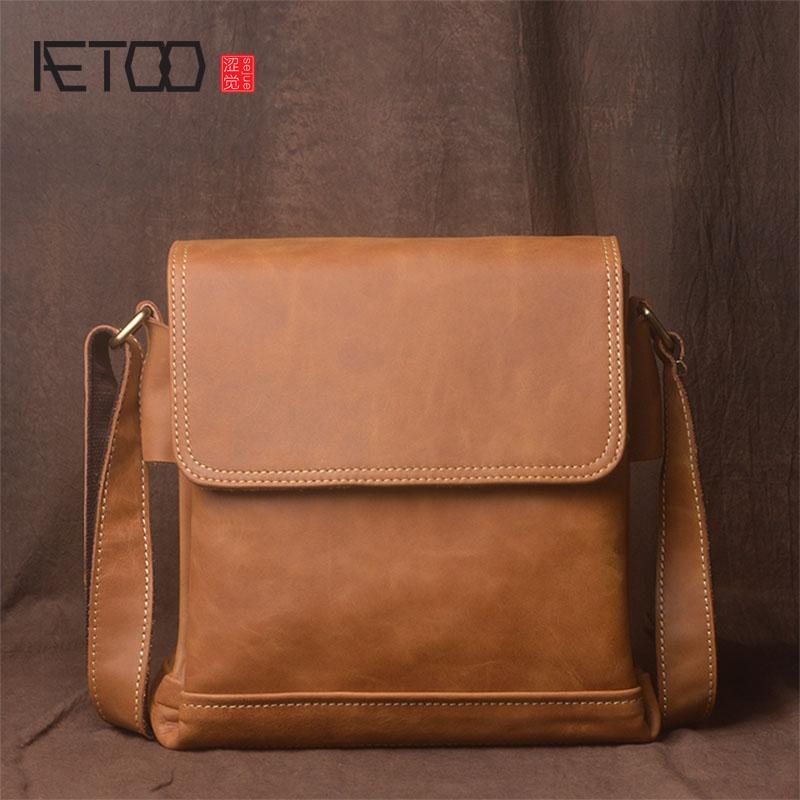 AETOO Men's Shoulder Bag Leather Messenger Bag Casual Bag Frenzy Leather Handbag Leather Bag bag woodland leather bag