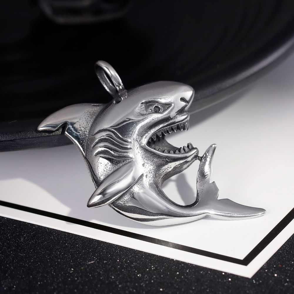 Rekin ze stali nierdzewnej wisiorek metalowy naszyjnik dla mężczyzn naszyjnik rybny ze skręconym łańcuszkiem Trendy spersonalizowana biżuteria męska