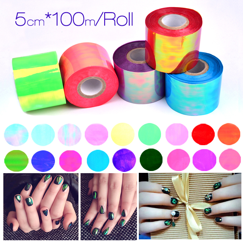 20 Style Nail Art Sticker Holographic Broken Glass Laser Nail Art Transfer Foil Sticker Manicure Decoration 5CM 100M 2017 New hot sale 20 sheets lot 20 4cm nail art transfer foil floral serial sexy black lace pattern nail sticker foil material diy wy188