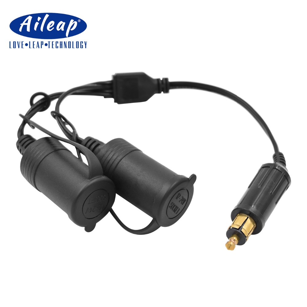 Aileap <font><b>Hella</b></font> <font><b>Din</b></font> Plug to Standard Cigarette Lighter Socket Adapter Dual Ports with Waterproof Cover for <font><b>BMW</b></font> Motorcycle - Black image