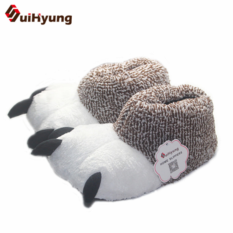 New Fashion Thermal Winter Indoor Cotton Padded Plush Cartoon Bear Claw Non-slip Slippers Home Cotton Slippers Floor Shoes fashion autumn and winter indoor home lovers cotton drag floor plush slippers female slip resistant
