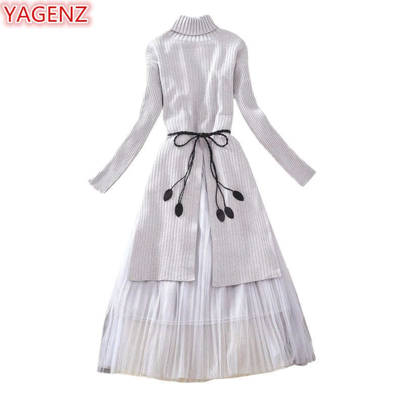 YAGENZ Spring Autumn Dress Women Two Piece Set Skirt Knit Sweaters Pullover Tops+Skirts Fashion Long sleeve Turtleneck Dress 849