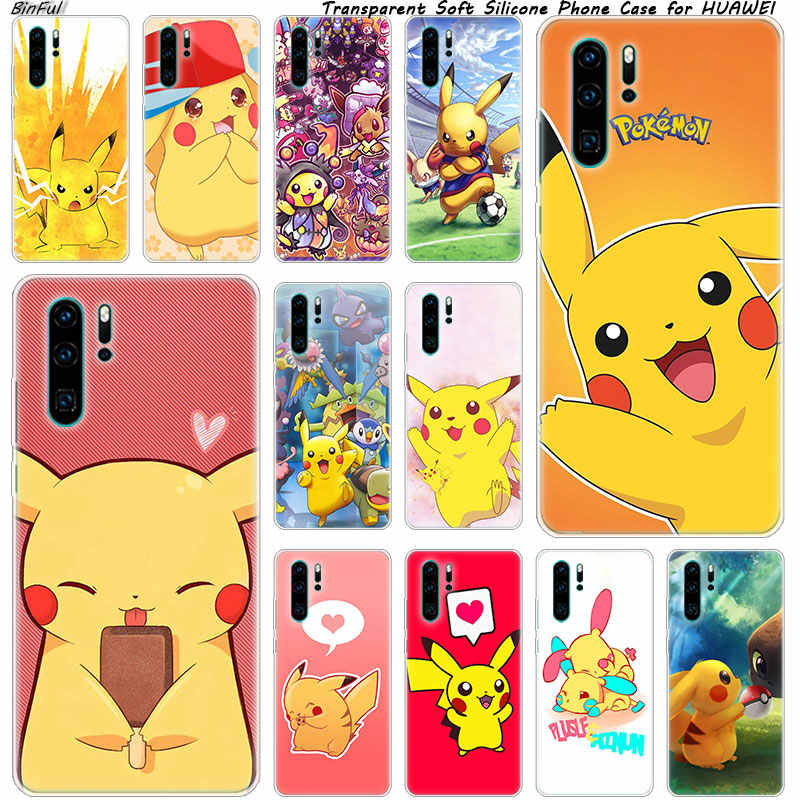 Cute Cartoon Pikachu Pokemon Soft Silicone Phone Case for Huawei P30 P20 Pro P10 P9 P8 Lite 2017 P Smart Z Plus 2019 NOVA 3 3i