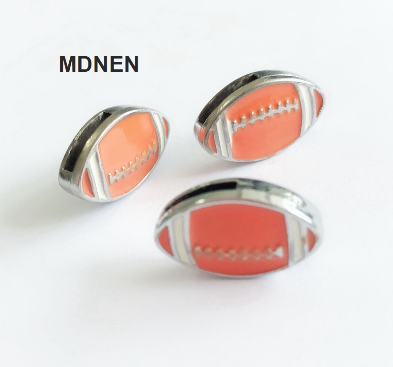 Free Shipping, 20PCS 8MM Free Shipping, 20PCS 8MM Enamel Football Slide Charms Fit 8mm Wristband Strips Keychain