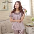 2016 Высокое качество шелковый pajama наборы выдалбливают вышивка кружева v шеи леди ночь костюмы прозрачный дышащий женщины lounge wear