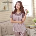 2016 Top quality silk pajama sets hollow out embroidery lace v neck lady night suits transparent breathable women lounge wear